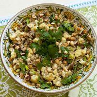 Quino Salad With Roasted Cauliflower, Mushrooms & Garbanzo Beans