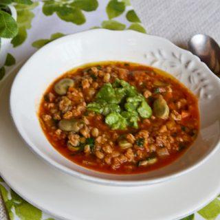Fava Bean Farro Soup