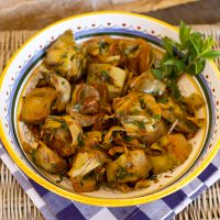 Golden Braised Artichokes With Mint & Garlic