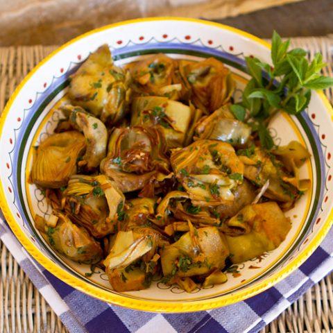 Golden Braised Artichokes With Mint & Garlic