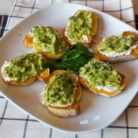 Bruschetta With Goat Cheese & Mashed Fava Beans