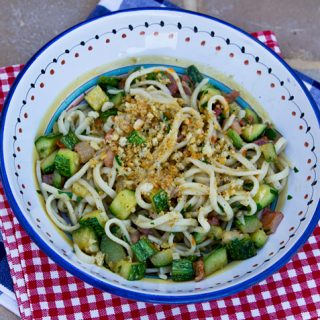 Pasta With Zucchini, Pancetta, & Breadcrumbs