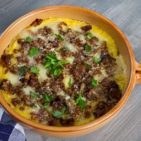 Baked Polenta With Sausage & Mushrooms