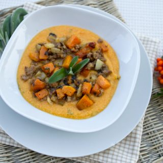 Pumpkin Polenta With Sausage, Fennel, & Roasted Pumpkin Ragu
