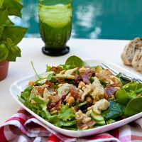 Baby Kale Salad With Artichokes, Chickpeas, & Prosciutto Crisps