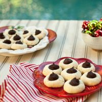 Shortbread Thumbprint Cookies With Dark Chocolate Center