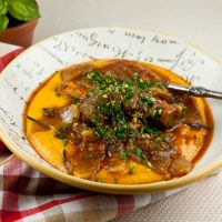 Slow Cooker Lamb Shanks With Sweet Potato Polenta
