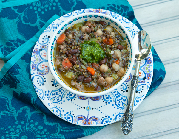 A hearty bean soup enriched with vegetables and sausage.
