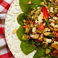 Quinoa Salad With Strawberries, Almonds, & Feta Cheese
