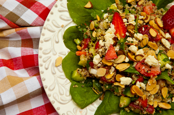Quinoa adds fiber and protein to this fresh strawberry salad.