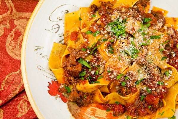 A meaty tomato ragu prepared in the slow cooker that works with any type of pasta.