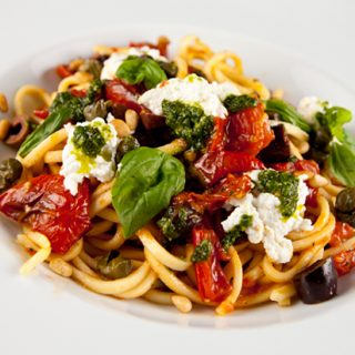Pasta With Homemade Ricotta & Oven Roasted Tomatoes