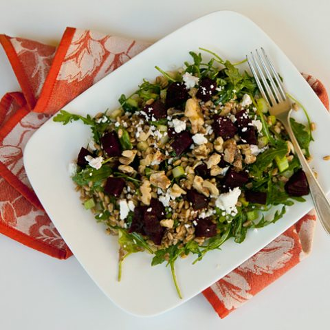 Farro Salad With Roasted Beets, Goat Cheese & Walnuts