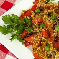 Roasted Peppers Gratin With Olives