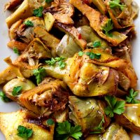 Golden Brown Artichokes Braised in White Wine