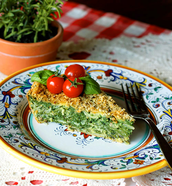 A rustic crustless tart made with greens and eggs.