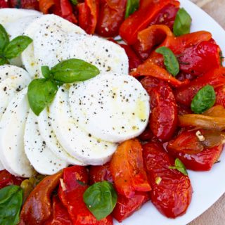 Buffalo Mozzarella With Oven Roasted Tomatoes & Peppers