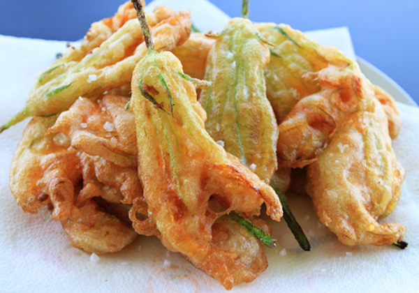 Light as air, crispy, golden brown zucchini flowers.