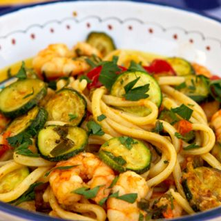 Pasta with Shrimp, Zucchini, & Cherry Tomatoes