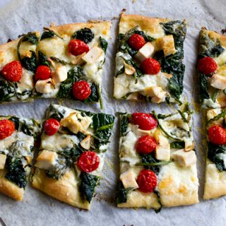 Spinach, Chicken & Cherry Tomato Flatbread