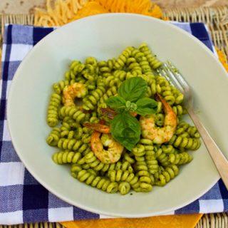 Fusilli Pasta With Herb Pesto & Shrimp