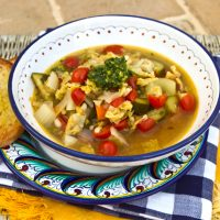 Summer Garden Soup With Celery Leaf Pesto