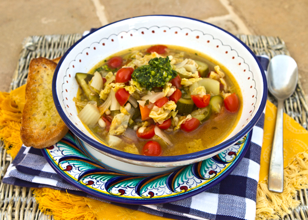 Fresh celery leaves are the star ingredient in this summer veggie soup.