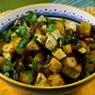 Roasted Potatoes, Zucchini, Onions & Pancetta