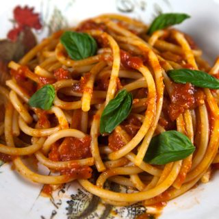 Bucatini With Oven Roasted Canned Tomato Sauce