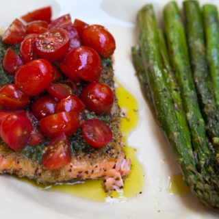 Wild Salmon Fillets With Pesto & Sweet Cherry Tomatoes