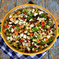 Raw Chopped Veggie Salad With Chickpeas