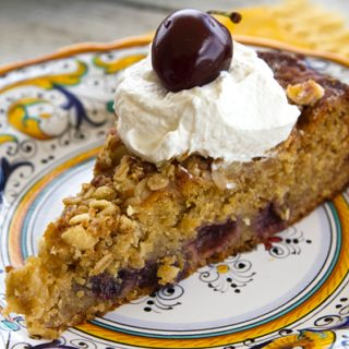 Cherry Nut Cake With Mascarpone Whipped Cream