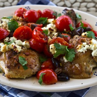 Baked Chicken Thighs With Tomatoes, Olives & Goat Cheese