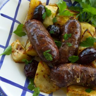 Red Wine Roasted Sausages With Potatoes & Olives