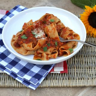 Farro Pappardelle With Mushroom Bolognese