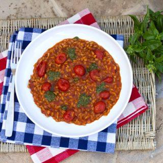 Three Tomato Farrotto With Basil Pesto