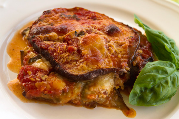 A quick cooked, fresh tasting eggplant Parmesan dish.