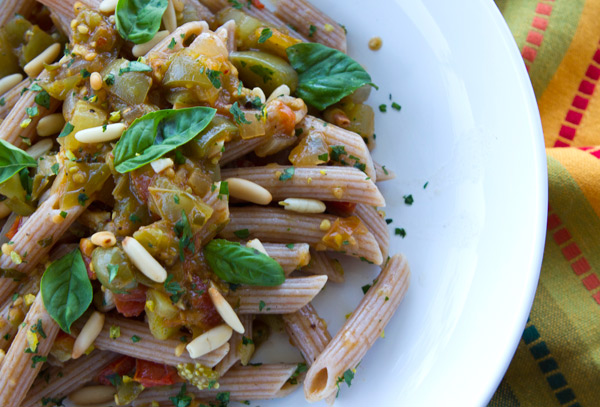 A unique pasta sauce that uses up those end of season green tomatoes.