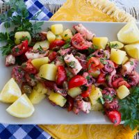 Octopus Salad With Potatoes, Tomatoes, Olives, & Capers