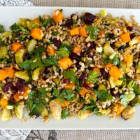 Fall Farro Salad With Roasted Brussels Sprouts, Pumpkin, Cranberries & Walnuts