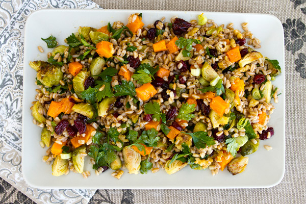 A combination of fall veggies are paired with farro in this hearty salad.