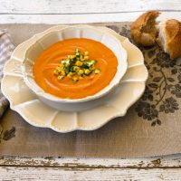 Roasted Red Pepper & Red Lentil Soup With Zucchini Corn Relish