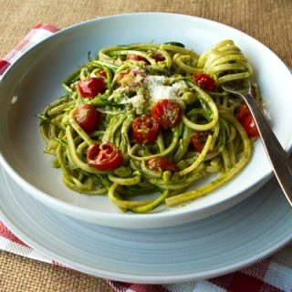 Pasta With Zucchini Ribbons, Pesto, & Cherry Tomatoes