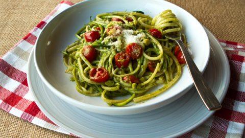 Pasta With Zucchini Ribbons Pesto Cherry Tomatoes Italian Food Forever