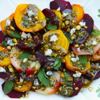 Roasted Mixed Beets With Pistachio Pesto & Blue Cheese Crumbles
