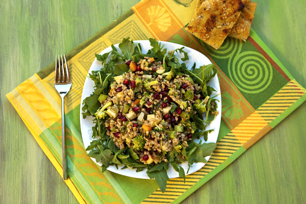 Nutty farro is paired with broccoli and apples in this nutritious, tasty salad.