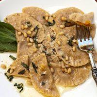 Whole Wheat Pumpkin Stuffed Mezzaluna Pasta - A Step by Step Tutorial