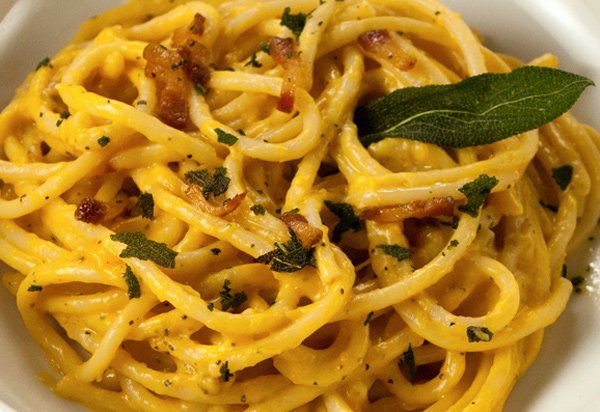 The addition of butternut squash adds a unique flavor to a traditional carbonara recipes.