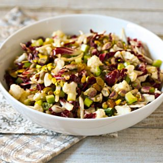 Raw Cauliflower Salad With Radicchio, Pistachios, & Golden Raisins