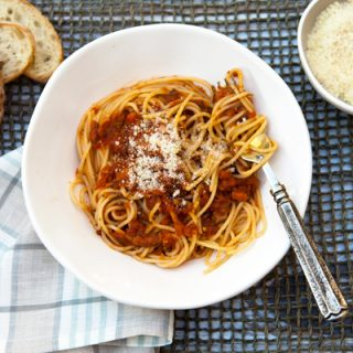 """Pasta with Hearty Vegetable """"Bolognese"""""""